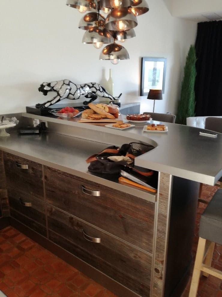 cuisine vieux bois inox